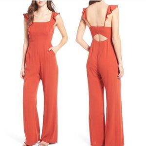 ASTR Red Romper with Ruffle Straps